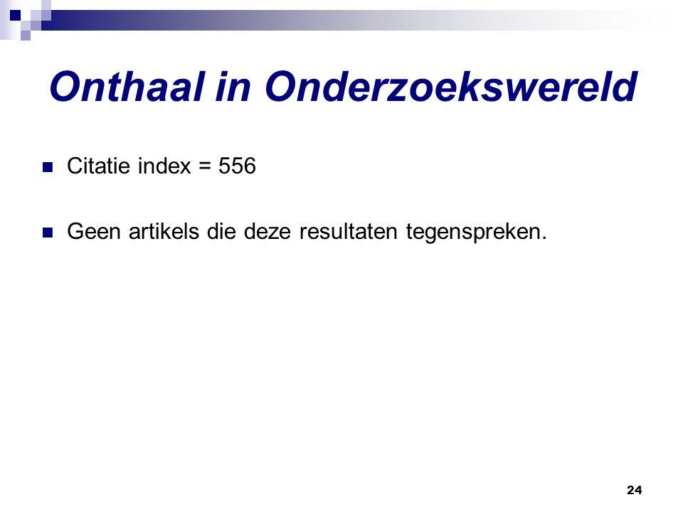 24 Onthaal in Onderzoekswereld Citatie index = 556 Geen artikels die deze resultaten tegenspreken.