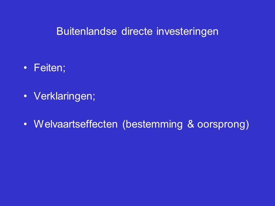 Buitenlandse directe investeringen Feiten; Verklaringen; Welvaartseffecten (bestemming & oorsprong)