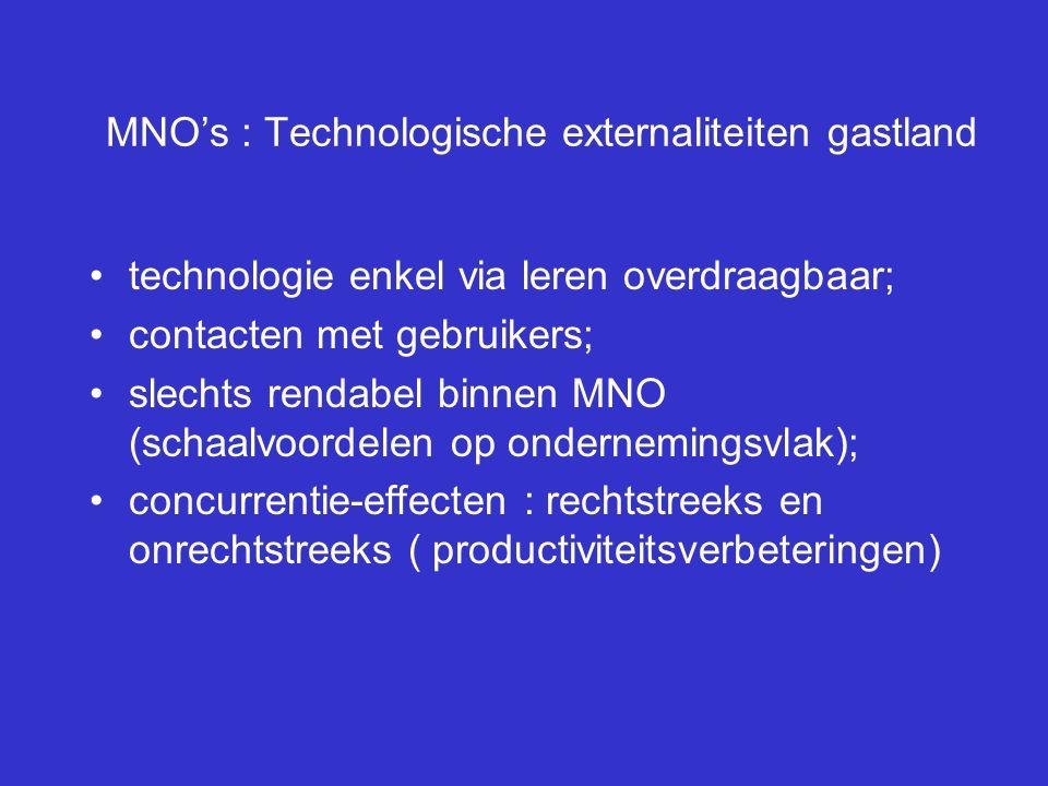 MNO's : Technologische externaliteiten gastland technologie enkel via leren overdraagbaar; contacten met gebruikers; slechts rendabel binnen MNO (scha
