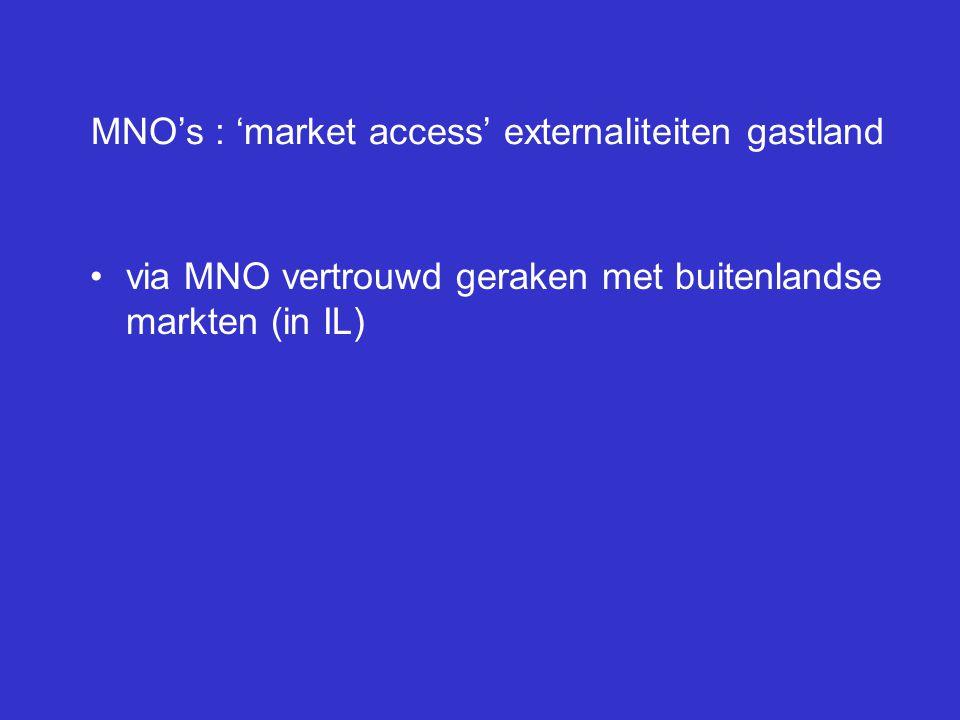 MNO's : 'market access' externaliteiten gastland via MNO vertrouwd geraken met buitenlandse markten (in IL)