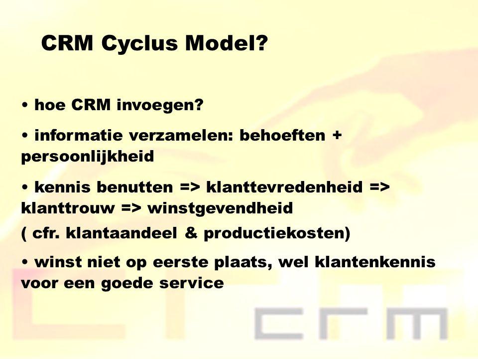 CRM Cyclus Model? hoe CRM invoegen? informatie verzamelen: behoeften + persoonlijkheid kennis benutten => klanttevredenheid => klanttrouw => winstgeve