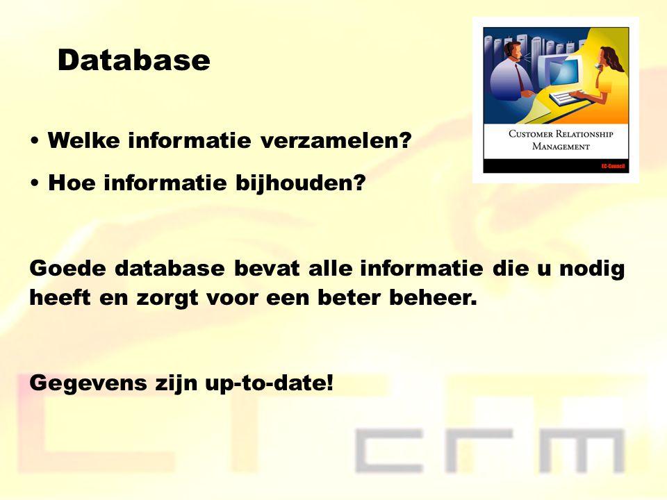 Database Welke informatie verzamelen? Hoe informatie bijhouden? Goede database bevat alle informatie die u nodig heeft en zorgt voor een beter beheer.