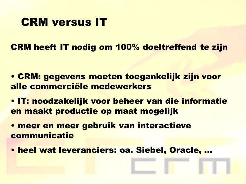 CRM versus IT CRM heeft IT nodig om 100% doeltreffend te zijn CRM: gegevens moeten toegankelijk zijn voor alle commerciële medewerkers IT: noodzakelijk voor beheer van die informatie en maakt productie op maat mogelijk meer en meer gebruik van interactieve communicatie heel wat leveranciers: oa.