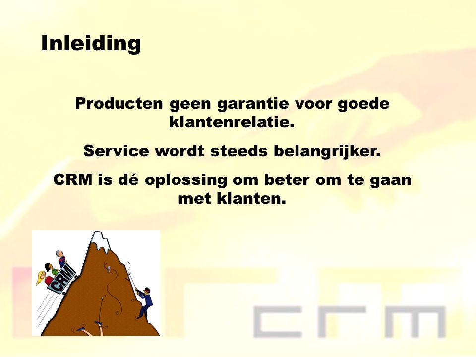 Inleiding Producten geen garantie voor goede klantenrelatie. Service wordt steeds belangrijker. CRM is dé oplossing om beter om te gaan met klanten.