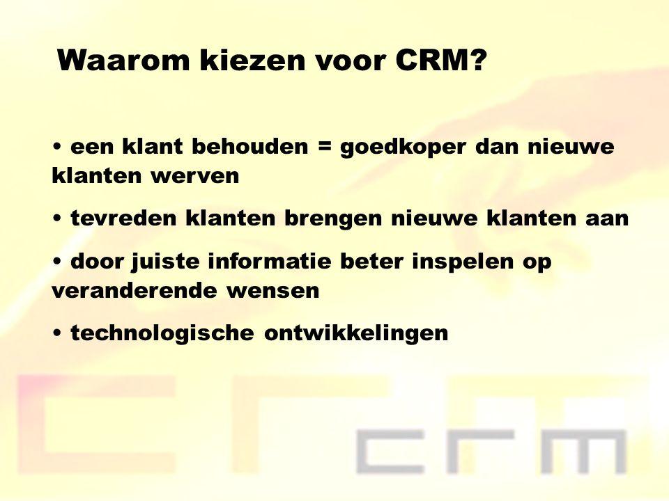 Waarom kiezen voor CRM? een klant behouden = goedkoper dan nieuwe klanten werven tevreden klanten brengen nieuwe klanten aan door juiste informatie be