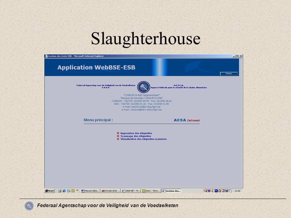 Federaal Agentschap voor de Veiligheid van de Voedselketen Slaughterhouse