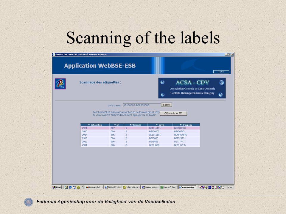 Federaal Agentschap voor de Veiligheid van de Voedselketen Scanning of the labels