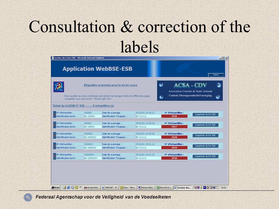 Federaal Agentschap voor de Veiligheid van de Voedselketen Consultation & correction of the labels