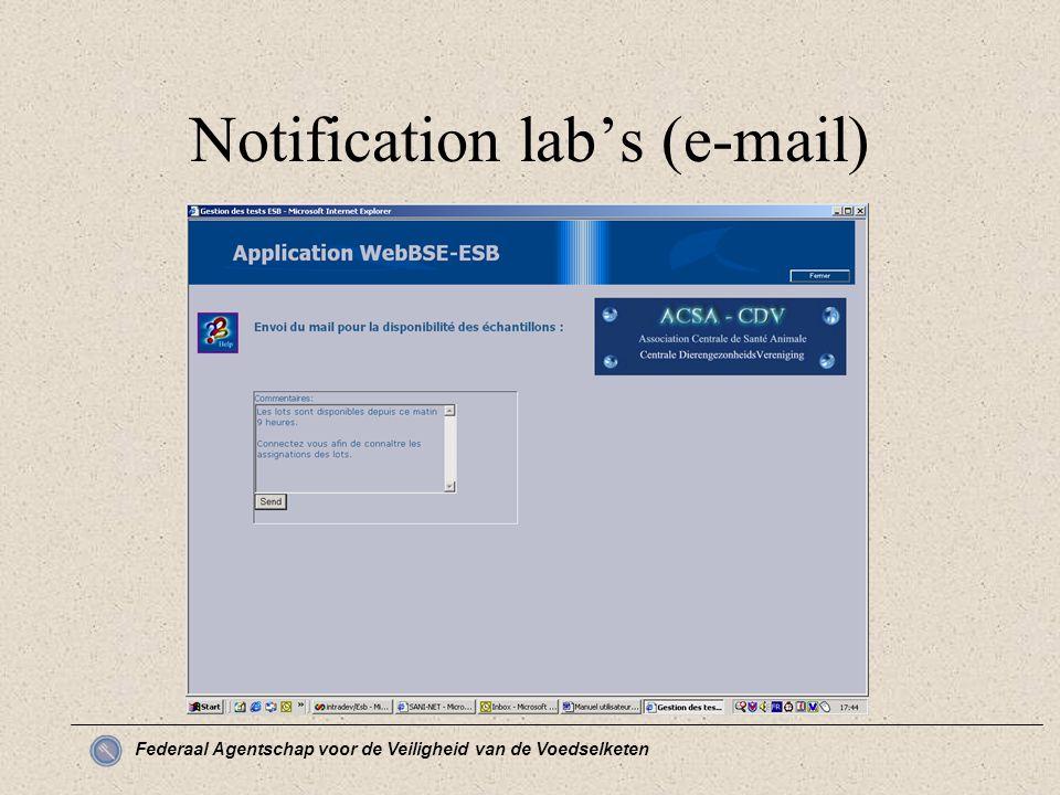 Federaal Agentschap voor de Veiligheid van de Voedselketen Notification lab's (e-mail)