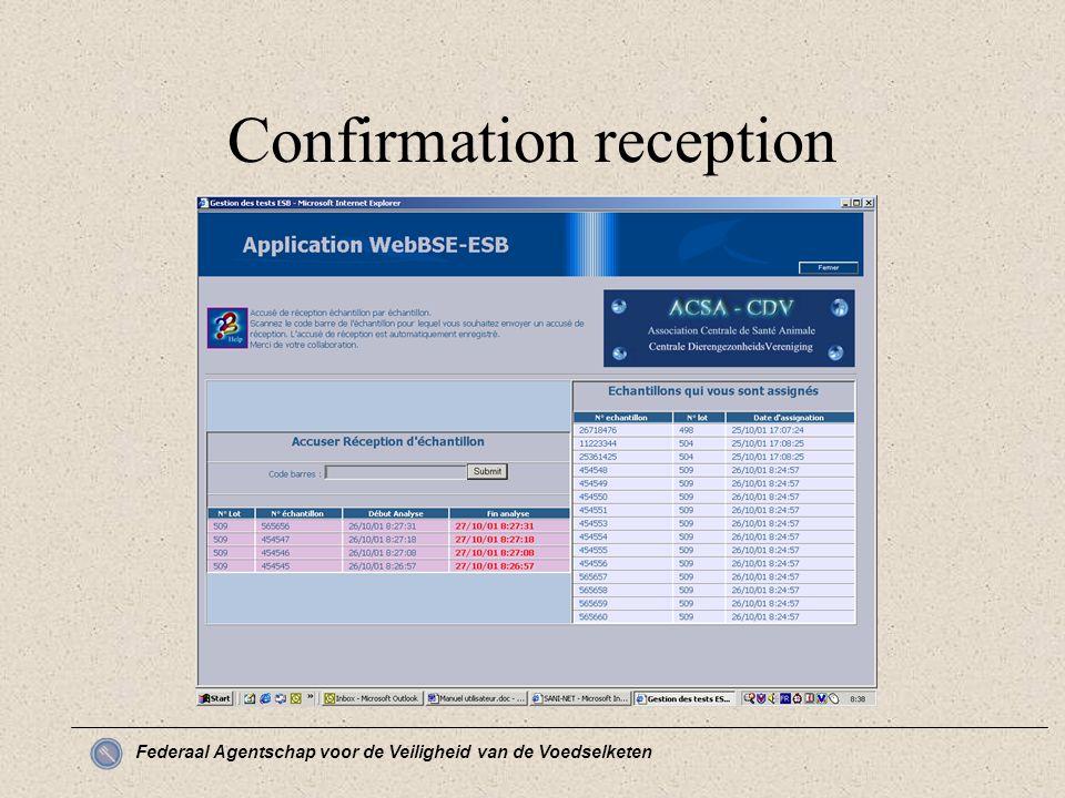 Federaal Agentschap voor de Veiligheid van de Voedselketen Confirmation reception