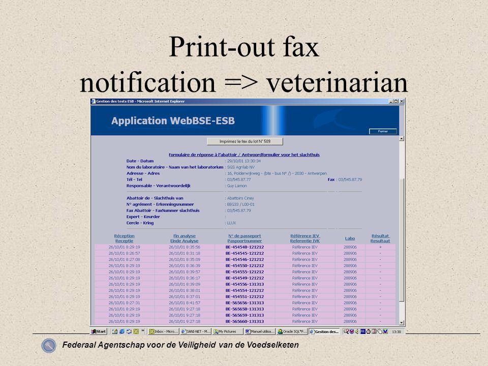 Federaal Agentschap voor de Veiligheid van de Voedselketen Print-out fax notification => veterinarian