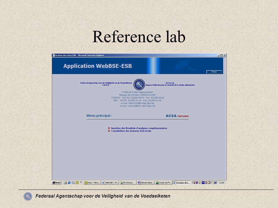 Federaal Agentschap voor de Veiligheid van de Voedselketen Reference lab