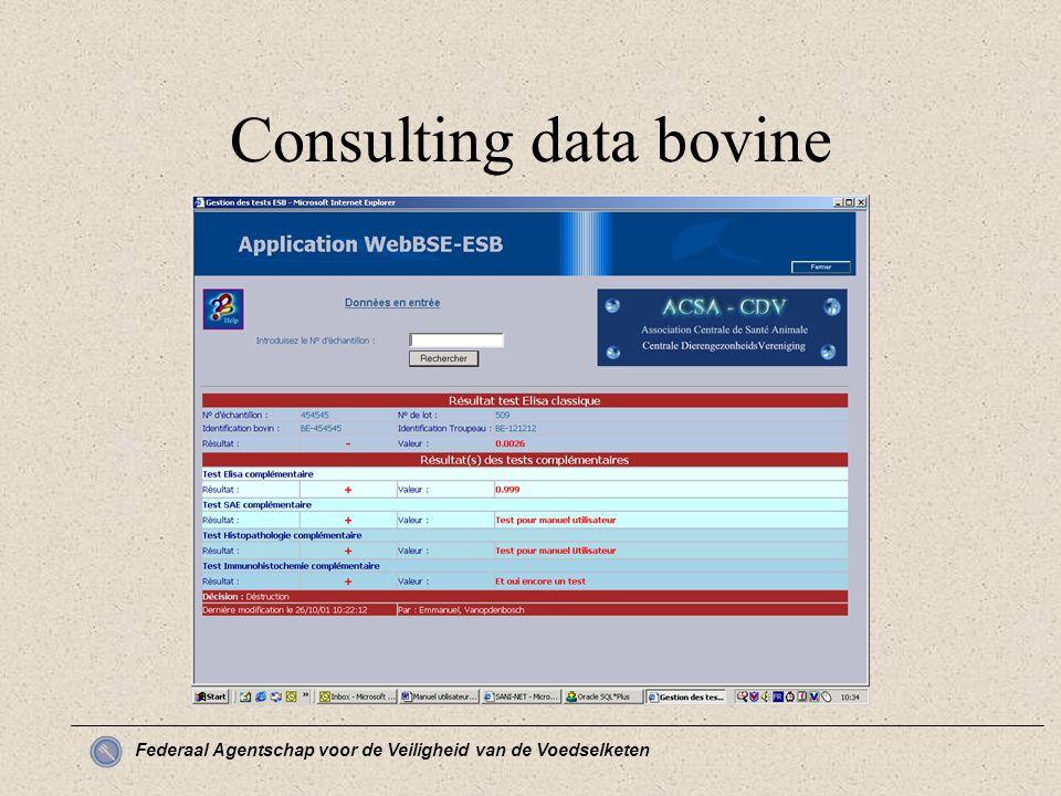 Federaal Agentschap voor de Veiligheid van de Voedselketen Consulting data bovine