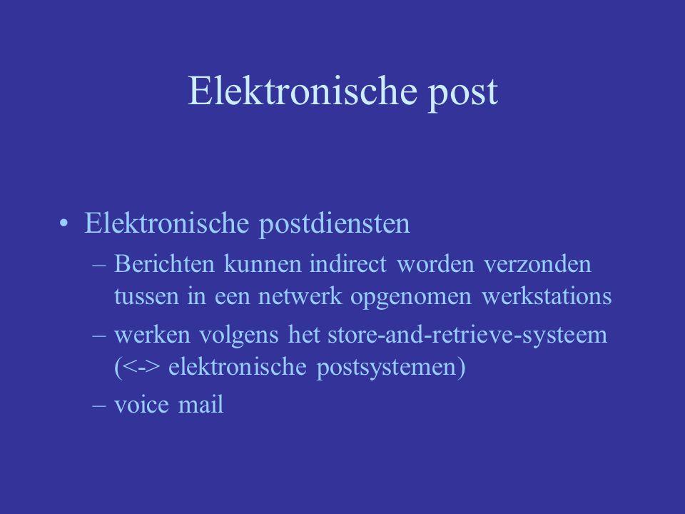 Elektronische post Elektronische postdiensten –Berichten kunnen indirect worden verzonden tussen in een netwerk opgenomen werkstations –werken volgens het store-and-retrieve-systeem ( elektronische postsystemen) –voice mail