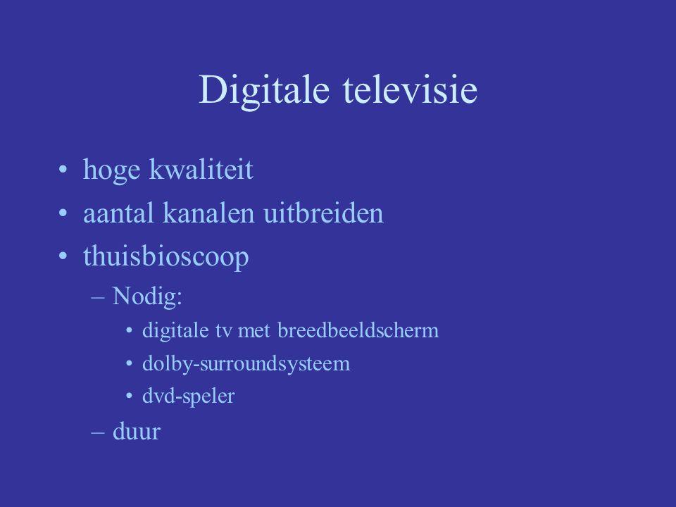 Digitale televisie hoge kwaliteit aantal kanalen uitbreiden thuisbioscoop –Nodig: digitale tv met breedbeeldscherm dolby-surroundsysteem dvd-speler –duur