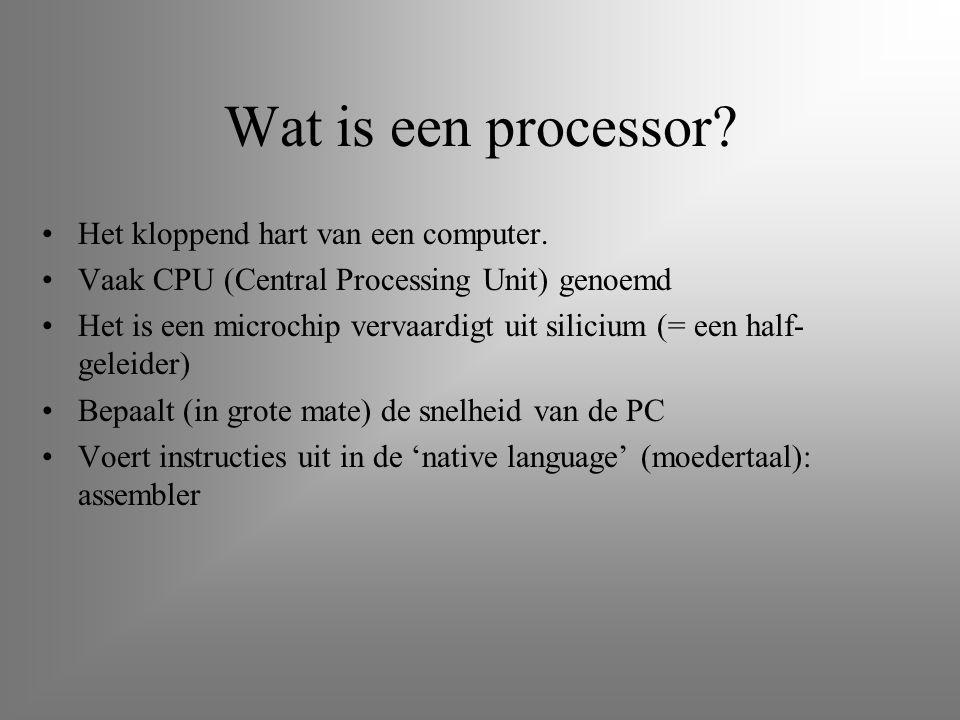 Wat is een processor? Het kloppend hart van een computer. Vaak CPU (Central Processing Unit) genoemd Het is een microchip vervaardigt uit silicium (=