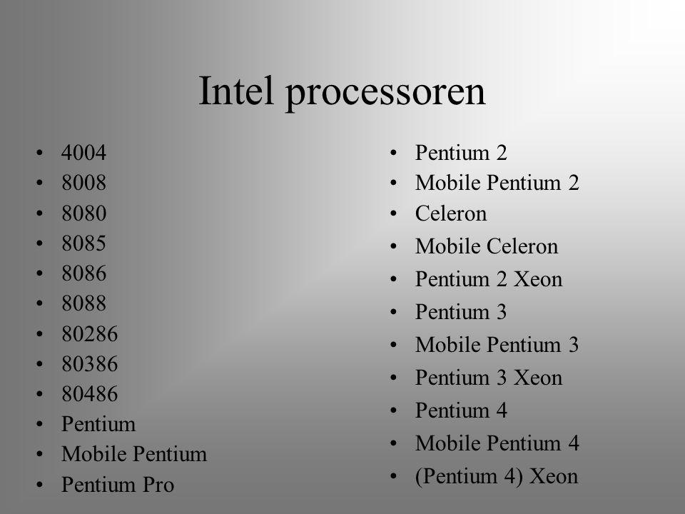 Intel processoren 4004 8008 8080 8085 8086 8088 80286 80386 80486 Pentium Mobile Pentium Pentium Pro Pentium 2 Mobile Pentium 2 Celeron Mobile Celeron