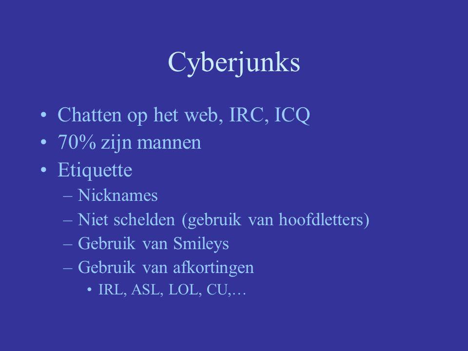 Cyberjunks Chatten op het web, IRC, ICQ 70% zijn mannen Etiquette –Nicknames –Niet schelden (gebruik van hoofdletters) –Gebruik van Smileys –Gebruik van afkortingen IRL, ASL, LOL, CU,…