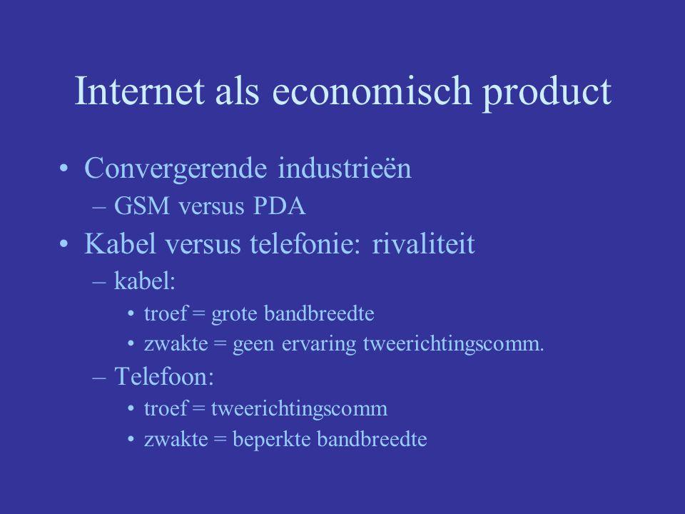 Internet als economisch product Convergerende industrieën –GSM versus PDA Kabel versus telefonie: rivaliteit –kabel: troef = grote bandbreedte zwakte = geen ervaring tweerichtingscomm.