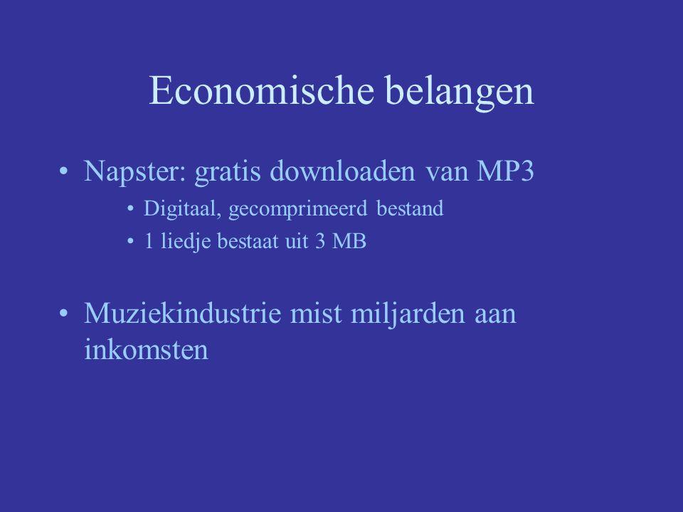 Economische belangen Napster: gratis downloaden van MP3 Digitaal, gecomprimeerd bestand 1 liedje bestaat uit 3 MB Muziekindustrie mist miljarden aan inkomsten