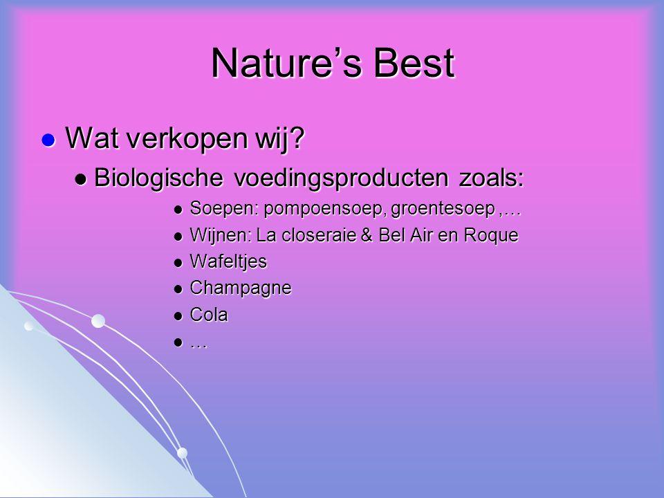 Nature's Best Wat verkopen wij. Wat verkopen wij.