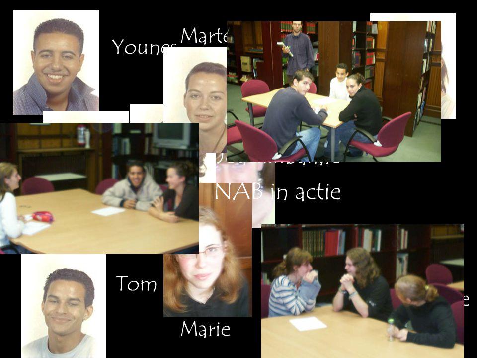 Younes Geoffrey Christine Tom Sanne Leila Yannick Joachim Marte Marie NAB in actie