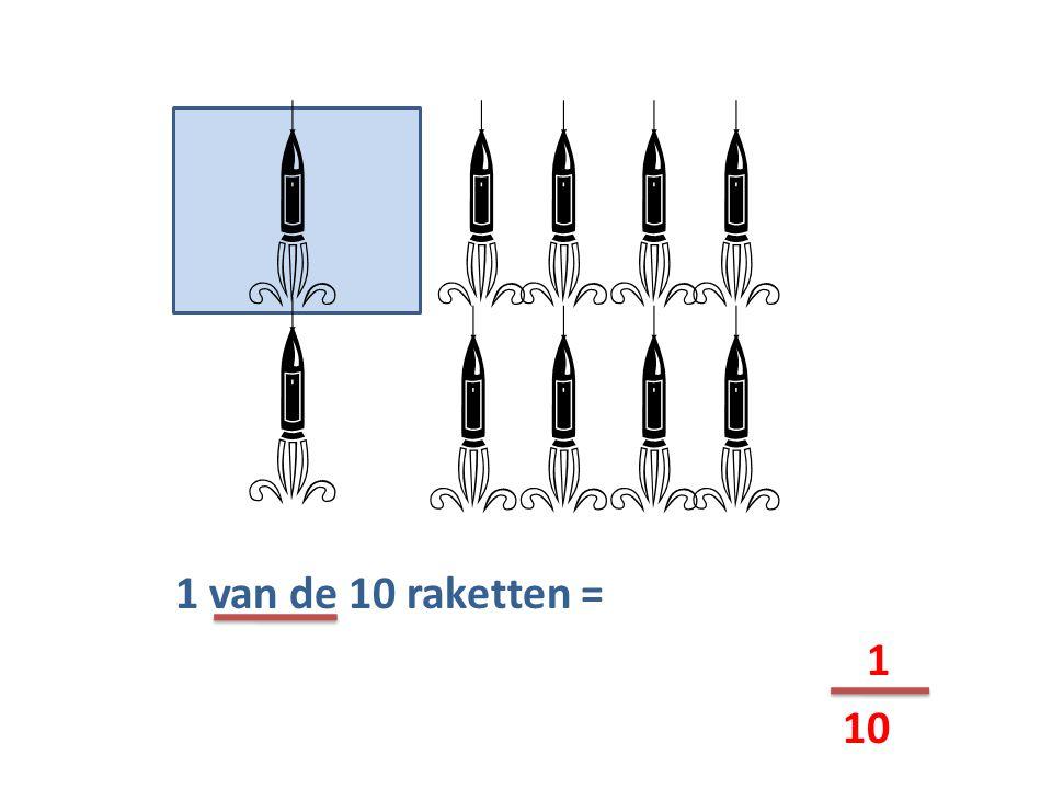1 van de 10 raketten = 1 10    