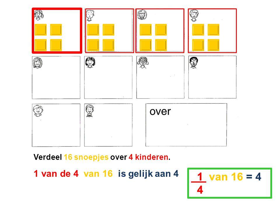 Verdeel 16 snoepjes over 4 kinderen. 1 van de 4 van 16 is gelijk aan 4 1 van 16 = 4 4 1 van 16 = 4 4 1 van 16 = 4 4