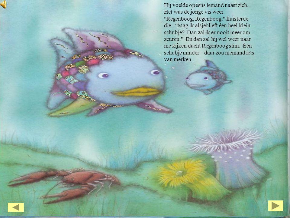 """Hij voelde opeens iemand naast zich. Het was de jonge vis weer. """"Regenboog, Regenboog,"""" fluisterde die. """"Mag ik alsjeblieft één heel klein schubje? Da"""
