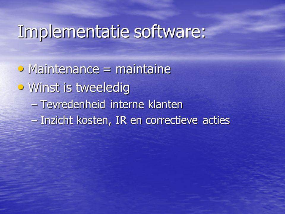 Implementatie software: Maintenance = maintaine Maintenance = maintaine Winst is tweeledig Winst is tweeledig –Tevredenheid interne klanten –Inzicht k