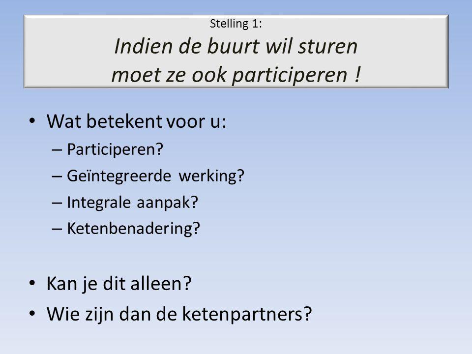 Stelling 1: Indien de buurt wil sturen moet ze ook participeren ! Wat betekent voor u: – Participeren? – Geïntegreerde werking? – Integrale aanpak? –