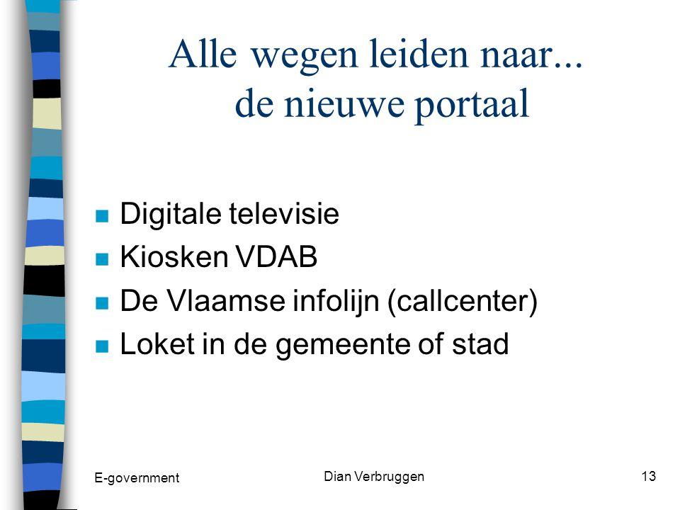 E-government Dian Verbruggen12 Vermijden van een digitale kloof n Het gaat hier om mensen die om socio- culturele redenen achterop zijn geraakt en niet deelnemen aan de elektronische samenleving.
