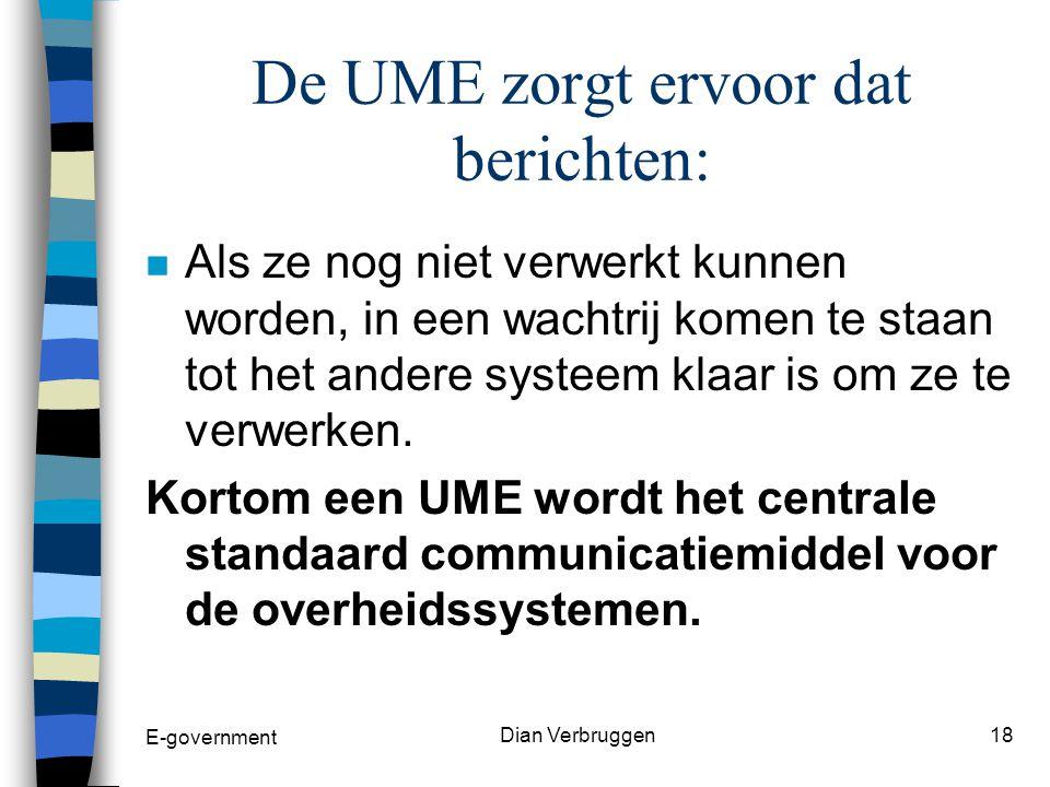 E-government Dian Verbruggen17 De UME zorgt ervoor dat berichten: n Hun weg vinden in het kluwen van de overheidssystemen n op een veilige manier van het ene in het andere systeem raken n niet verloren gaan n eerst vertaald worden zodat andere systemen ze kan begrijpen