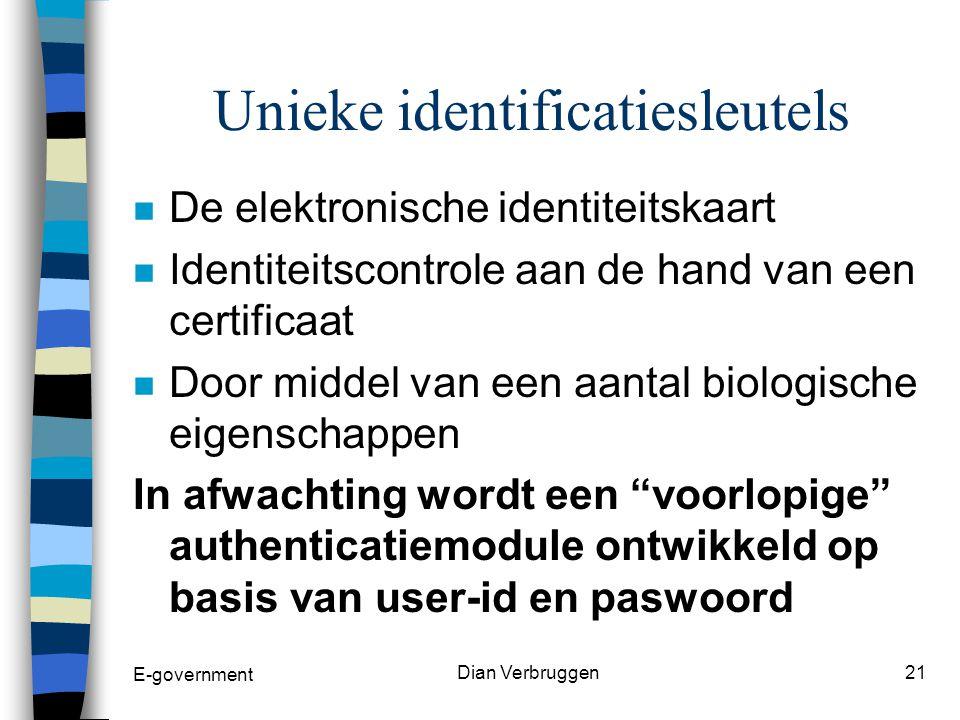 E-government Dian Verbruggen20 Unieke identificatiesleutels n Unieke identificatiesleutel voor burgers =uniek nationaal nummer.