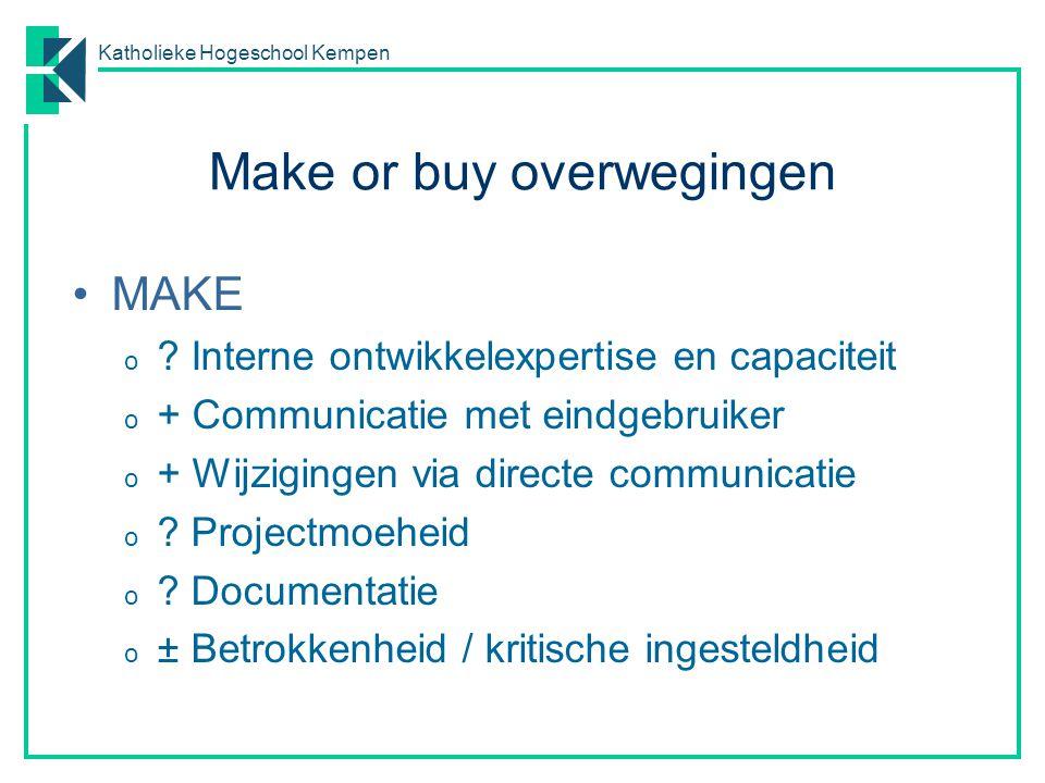 Katholieke Hogeschool Kempen Make or buy overwegingen MAKE o ? Interne ontwikkelexpertise en capaciteit o + Communicatie met eindgebruiker o + Wijzigi