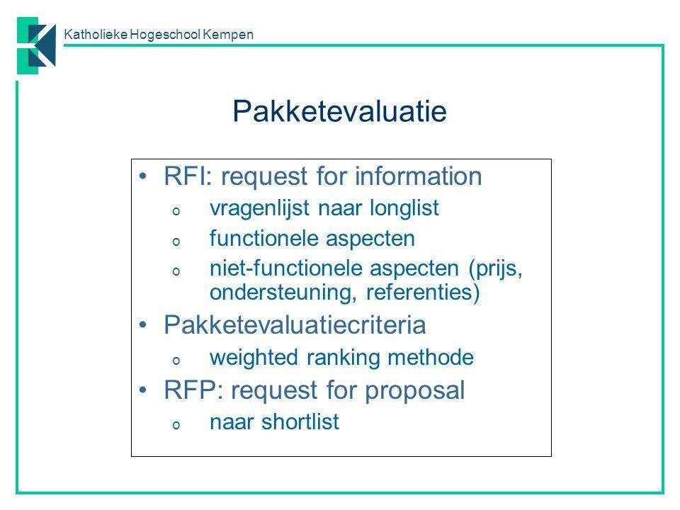 Katholieke Hogeschool Kempen RFI: request for information o vragenlijst naar longlist o functionele aspecten o niet-functionele aspecten (prijs, onder