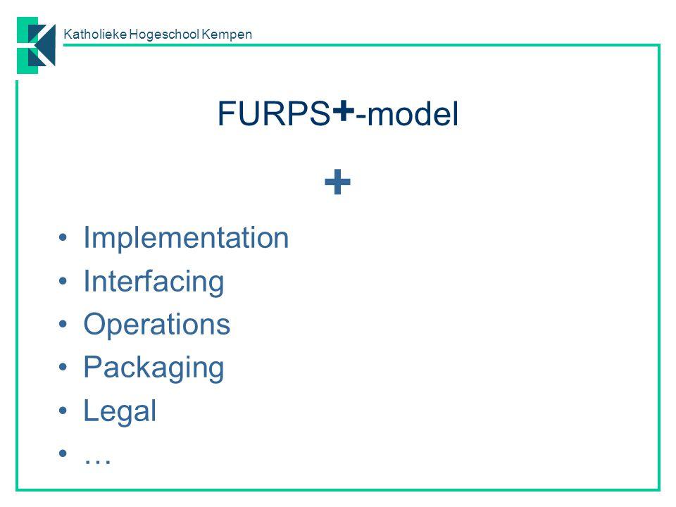 Katholieke Hogeschool Kempen FURPS + -model + Implementation Interfacing Operations Packaging Legal …