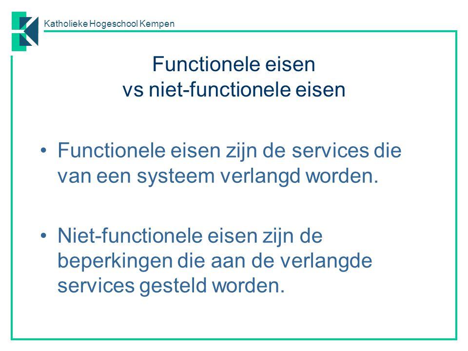 Katholieke Hogeschool Kempen Functionele eisen vs niet-functionele eisen Functionele eisen zijn de services die van een systeem verlangd worden. Niet-
