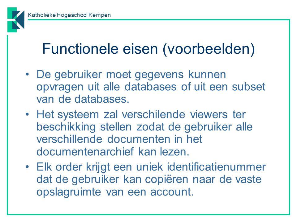 Katholieke Hogeschool Kempen Niet-functionele eisen (voorbeelden) Het systeem zal geen persoonlijke informatie van de klant aan de operator tonen, behalve diens naam en referentienummer.