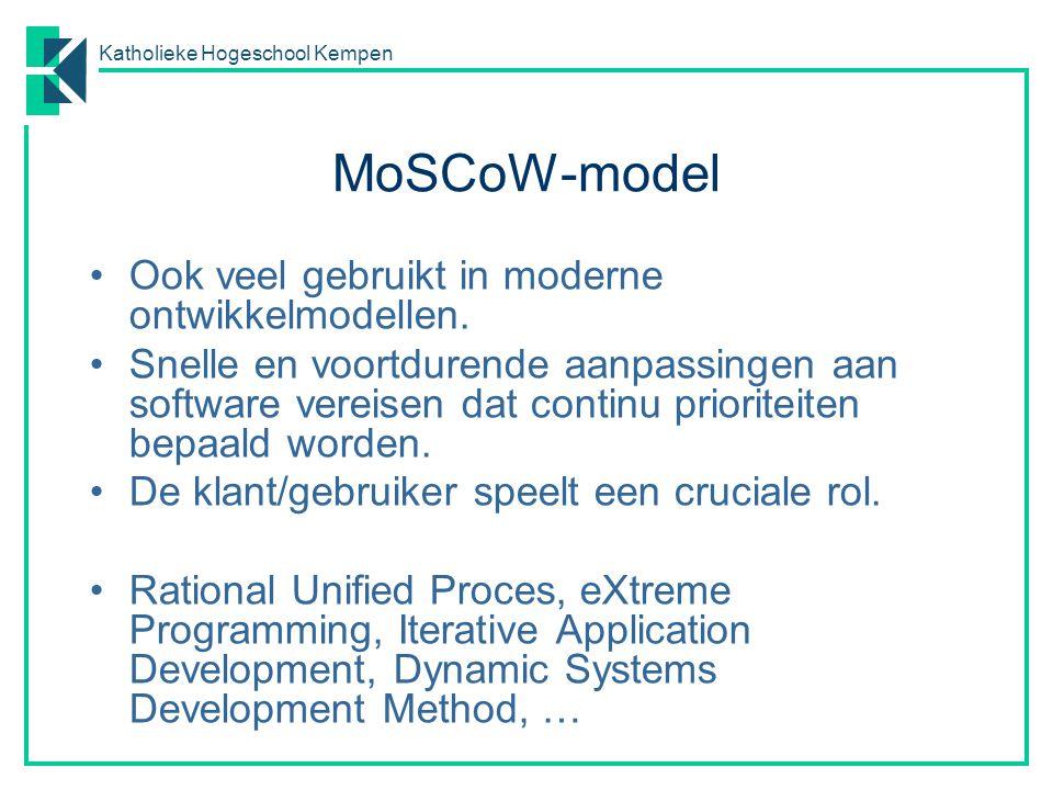 Katholieke Hogeschool Kempen MoSCoW-model Ook veel gebruikt in moderne ontwikkelmodellen. Snelle en voortdurende aanpassingen aan software vereisen da