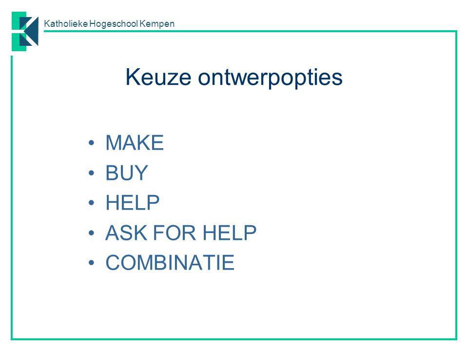 Katholieke Hogeschool Kempen Make or buy overwegingen MAKE o .