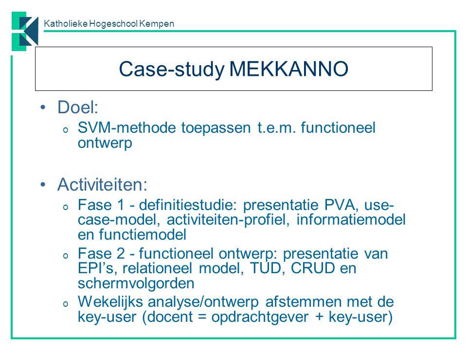 Katholieke Hogeschool Kempen Case-study MEKKANNO Doel: o SVM-methode toepassen t.e.m. functioneel ontwerp Activiteiten: o Fase 1 - definitiestudie: pr