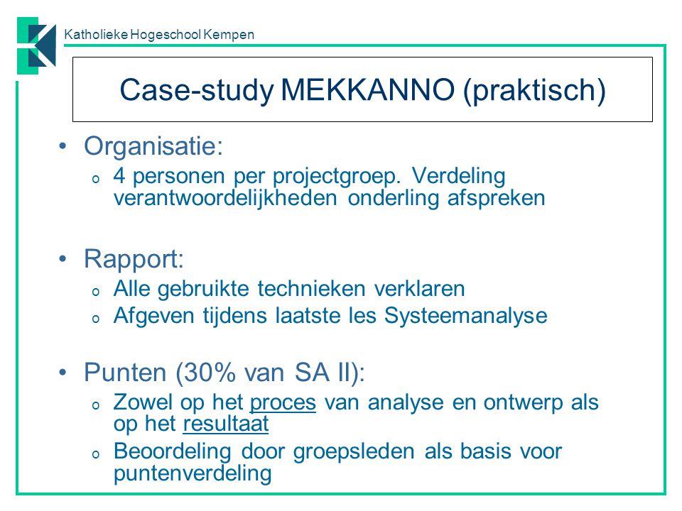 Katholieke Hogeschool Kempen Case-study MEKKANNO (praktisch) Organisatie: o 4 personen per projectgroep. Verdeling verantwoordelijkheden onderling afs