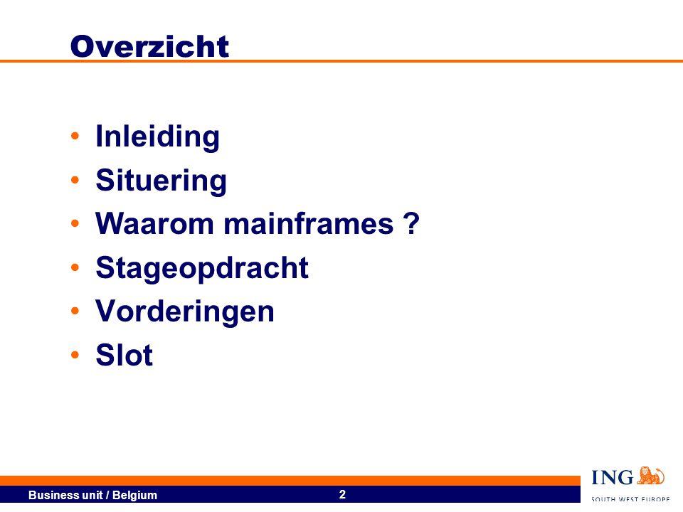 Business unit / Belgium 3 Inleiding ING Group Fusie (1999 – 2001)