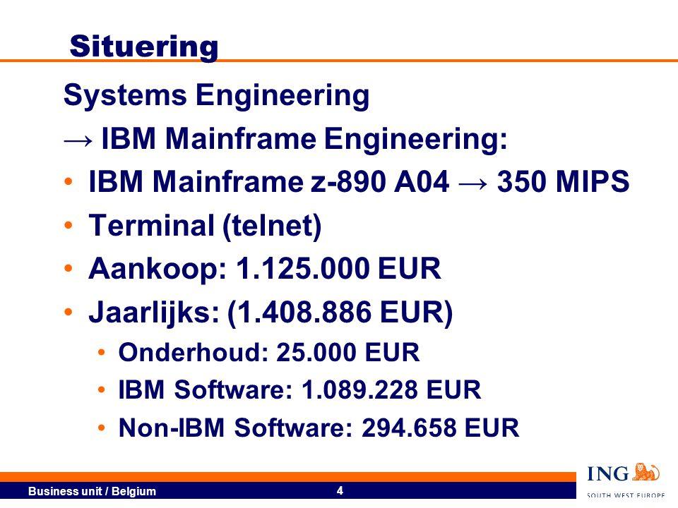 Business unit / Belgium 5 Waarom mainframes .350 vs.