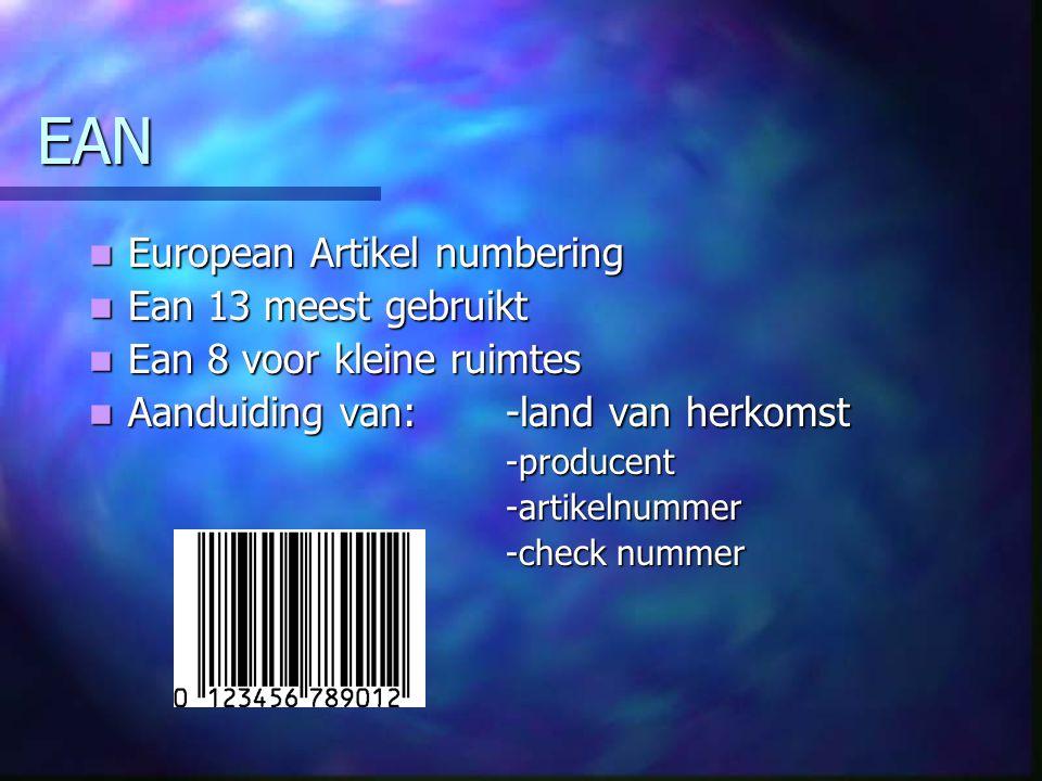 EAN European Artikel numbering European Artikel numbering Ean 13 meest gebruikt Ean 13 meest gebruikt Ean 8 voor kleine ruimtes Ean 8 voor kleine ruimtes Aanduiding van: -land van herkomst Aanduiding van: -land van herkomst-producent-artikelnummer -check nummer
