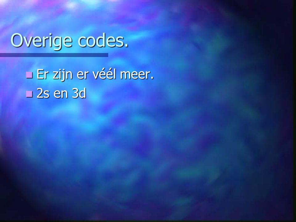 Overige codes. Er zijn er véél meer. Er zijn er véél meer. 2s en 3d 2s en 3d