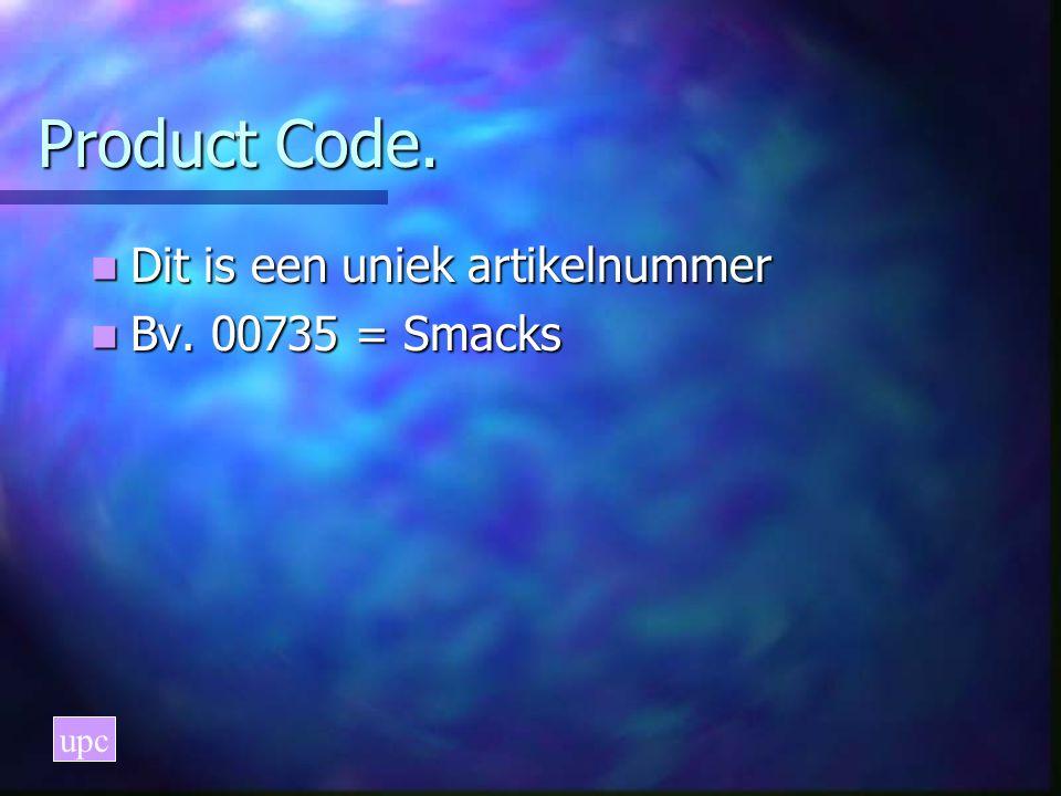 Manufacturer Code Dit is de fabrikant Dit is de fabrikant Bv. Kellogs' = 38000 Bv. Kellogs' = 38000 upc