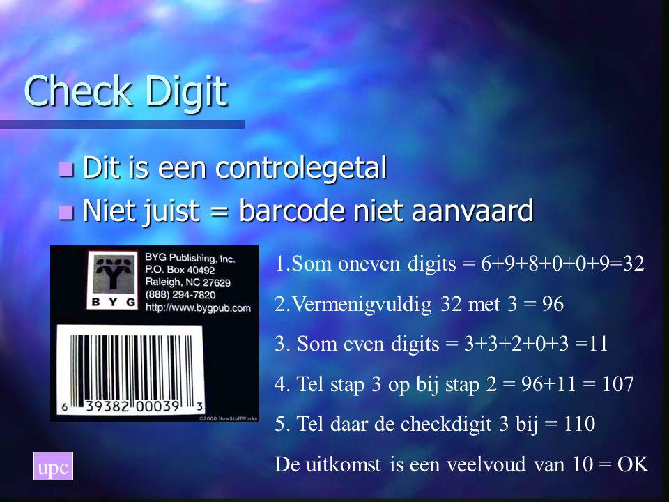 Check Digit Dit is een controlegetal Dit is een controlegetal Niet juist = barcode niet aanvaard Niet juist = barcode niet aanvaard upc 1.Som oneven digits = 6+9+8+0+0+9=32 2.Vermenigvuldig 32 met 3 = 96 3.