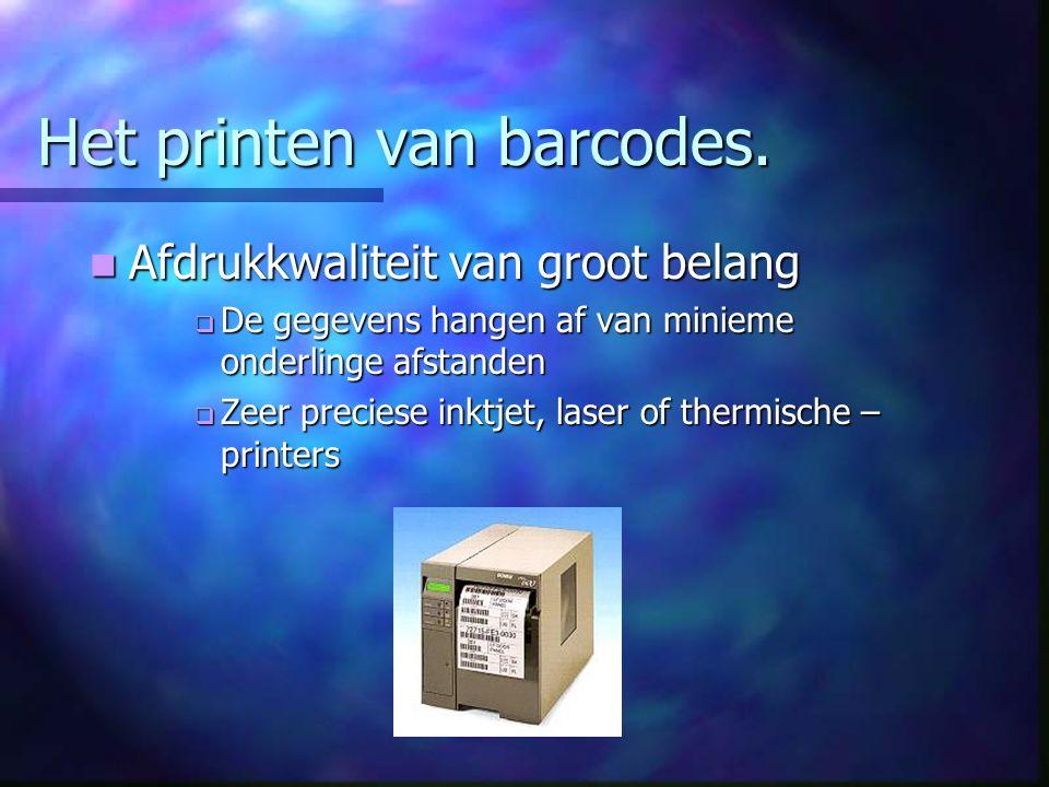Het printen van barcodes.